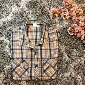 Roxy Plaid Button Up Top
